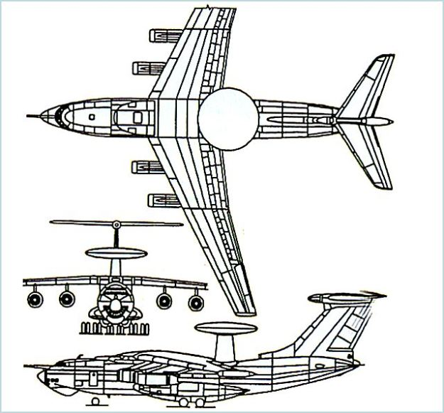 a-50_awacs_airborne_warning_control_aircraft_russia_russian_air_force_line_drawing_blueprint_001