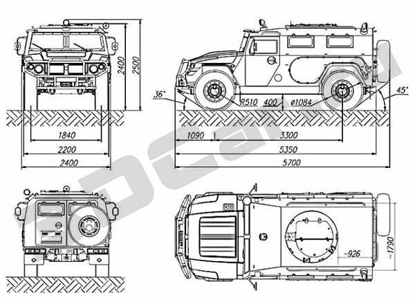 GAZ-2330_Tigr_wheeled_armoured_vehicle_Russia_Russian_line_drawing_blueprint_001