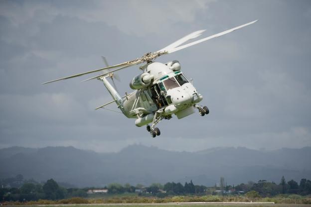 Navy Seasprite helicopter landing at Tauranga Airport